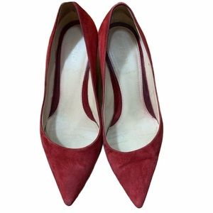 FENDI Red Suede Pointed Toe Heels